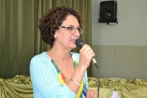 """Palestrante Andréa Borges abordou tema """"Construção de conhecimento e cotidiano escolar."""