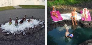 Em outras cidades do mundo, alguns projetos utilizavam formas criativas para chamar a atenção para os buracos em vias públicas.