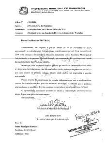 Documento enviado pelo Executivo ao SINTRAM.