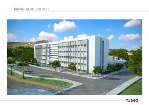Ilustração da futura edificação: espaço para novas varas judiciais.