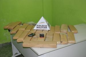23 barras de maconha prensada, totalizando cerca de 27 kg da droga, foram retiradas de circulação