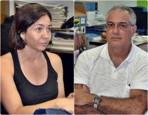 Coordenadora de Vigilância Ambiental, Emilce Estanislau e secretário de Saúde, José Rafael