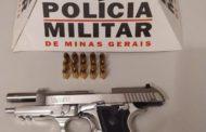 Arma e munições recolhidas na zona rural de Alto Jequitibá