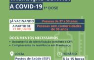 Pessoas de 36 anos serão vacinadas contra a Covid-19 nesta quarta-feira (21)
